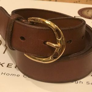 LRL brown leather belt with gold tone buckle S EUC